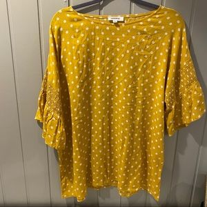 Mittoshop Yellow and White Polka Dot Ruched Sleeve